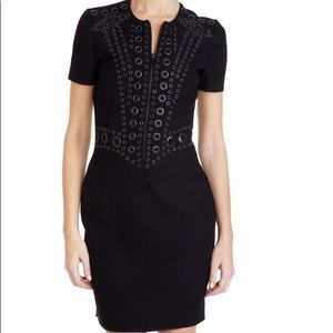 Givenchy black grommet dress mini zipper sheath